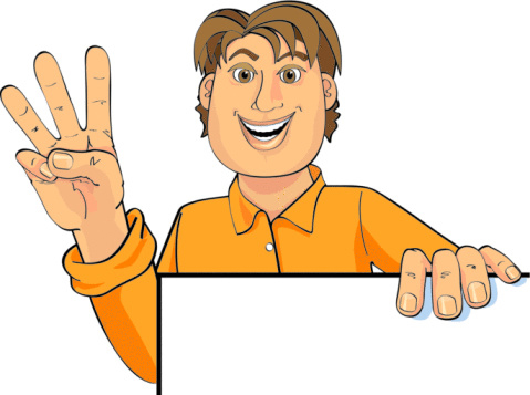 animated character holding up 3 fingers