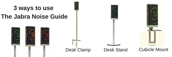 3 configurations of Jabra Noise Guide graphic
