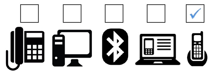 Icons of devices headsets connect to with check mark above cordless phone