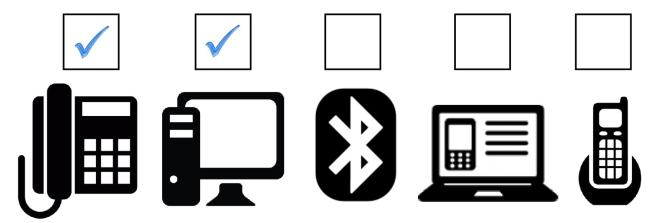 graphic showing devices headsets connect to with check marks in desk phone and PC