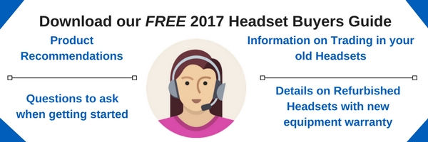 graphic of woman wearing an office headset promoting a free download