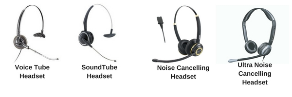 headsets showing different microphone types