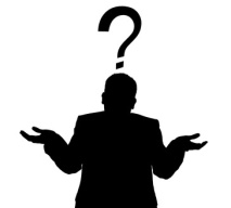 black image of man shrugging with question mark overhead