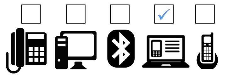 icons of devices headsets connect to with check mark above PC