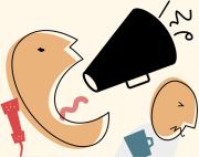 animated person yelling with megaphone annoying another person