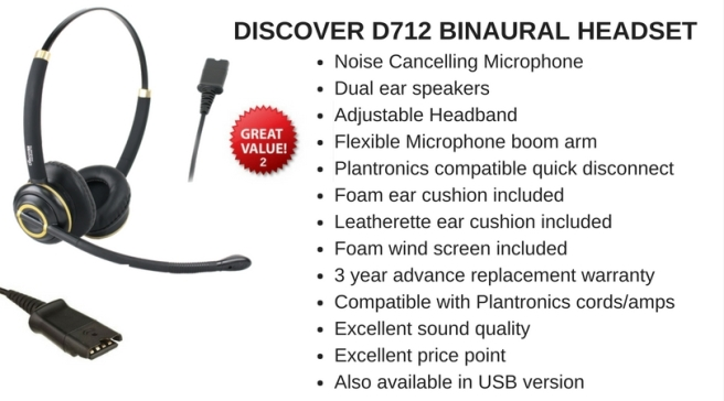Discover D712 binaural headset with description
