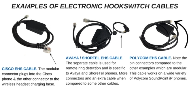 3 examples of headset hookswitch cables