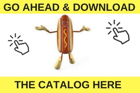 hot dog saying go ahead and download the catalog