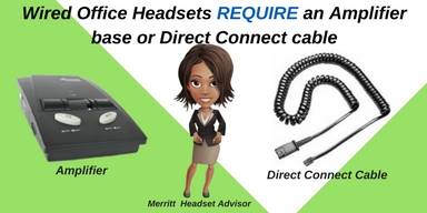 headset amplifier base and direct connect cord graphic