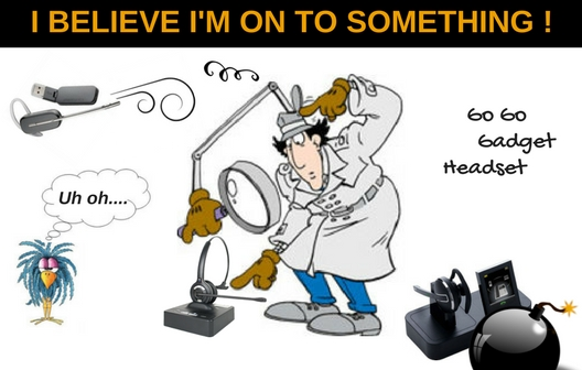 cartoon of inspector gadget looking at headsets