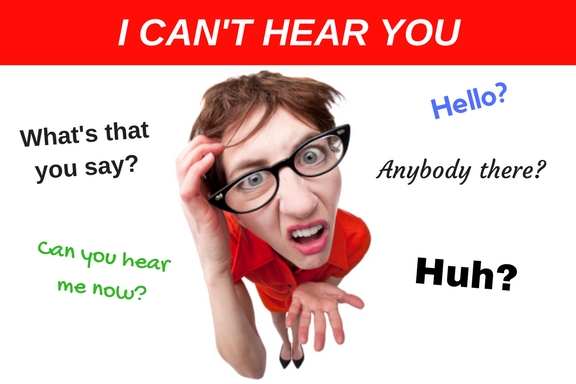 person looking confused saying I can't hear you