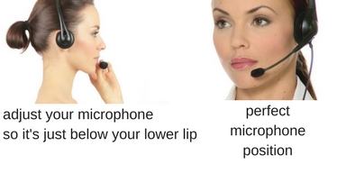 two images of a woman wearing and adjusting her headset microphone