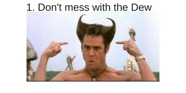Jim Carey point at hair saying don't mess with the dew