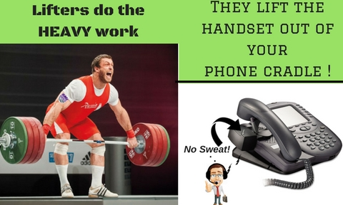 weight lifter and phone with headset lifter