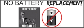 battery with red circle and line through it and animated man saying sorry champ, no can do