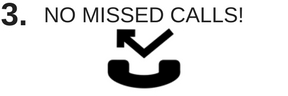 No missed phone calls and Icon of telephone handset missing a call