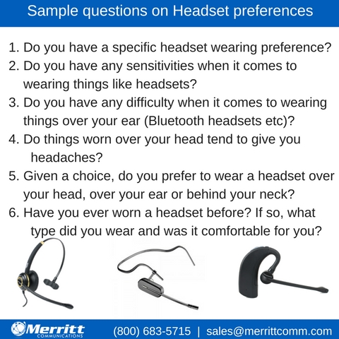 graphic of sample questions about headset preferences