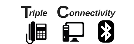 triple connectivity with phone, PC and Bluetooth icons
