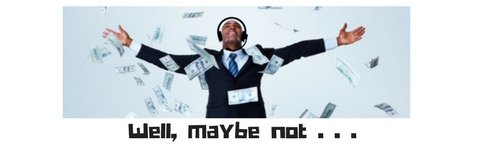 man in suit with money falling from the sky