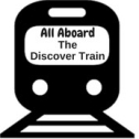 icon of a train that says all aboard the discover train