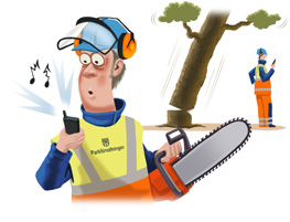 man with chain saw being distracted by cell phone call