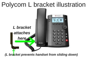 Handset lifter L bracket and a Polycom iP phone