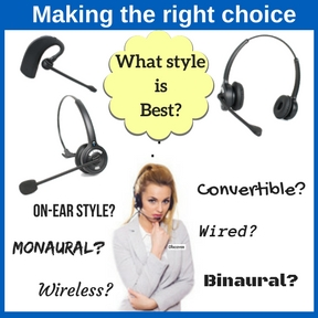 businesswoman with headset asking what headset style is best