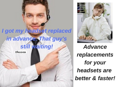 businessman with headset and smile pointing at man cradling a phone receiver