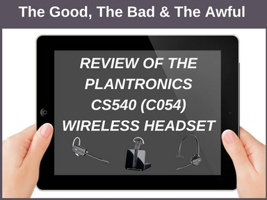 iPad screen with Review of Plantronics CS540 wireless headset on display