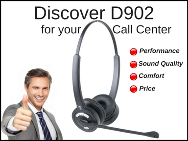 businessman showing thumb up for a Discover D902 wireless headset