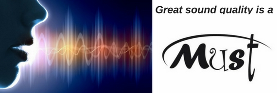 graphic of a man talking showing sound waves and text that says great sound quality is a must