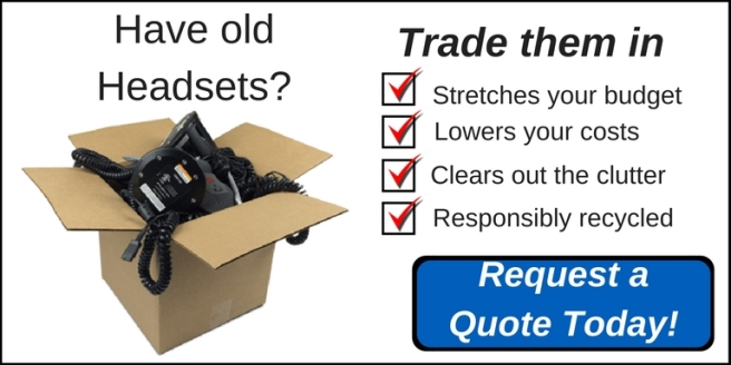 box of old headsets with call to action of trading them in