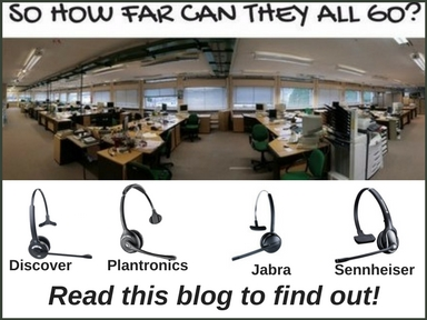 a fishbowl picture of an office with different brands of wireless headsets