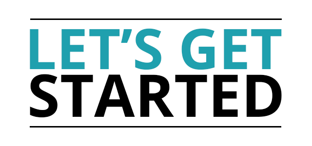 graphic that says let's get started