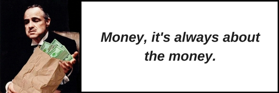Marlon Brando Godfather holding bag of money