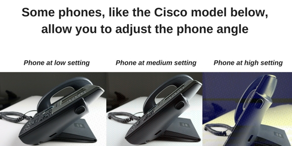 3 images of Cisco phone at varying pitches