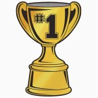 Clip art of a golden trophy with #1 inscribed on it