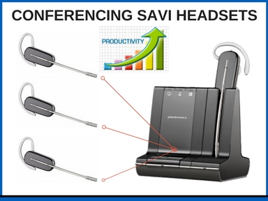 Plantronics Savi 740 and three additional Savi 740 wireless headset tops