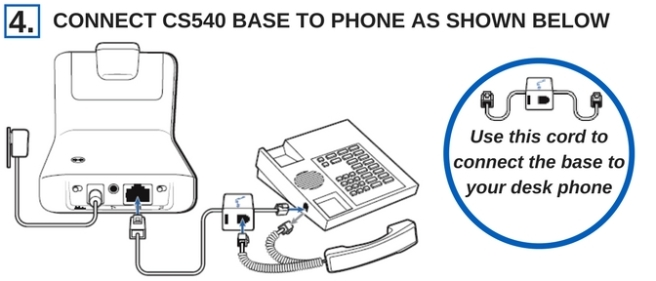 plantronics cs540 headset connected to phone line drawing