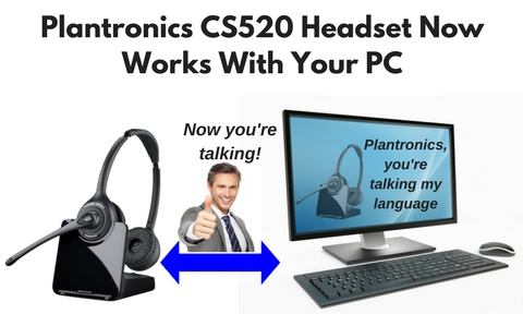 plantronics CS520 wireless headset and a desk top computer