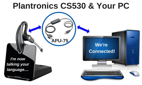 Plantronics CS530 wireless headset and a personal computer