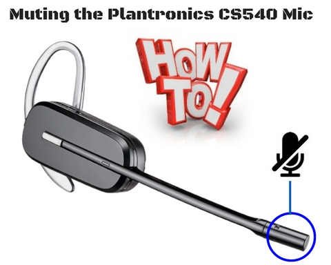 Plantronics CS540 headset top showing the microphone being muted