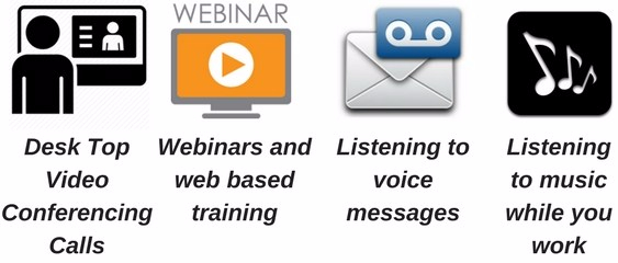 icons for video conferencing, webinars, voice messages, music