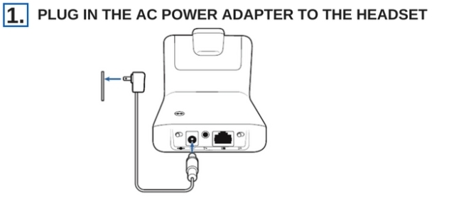 line drawing of plantronics CS540 headset base being plugged into ac power