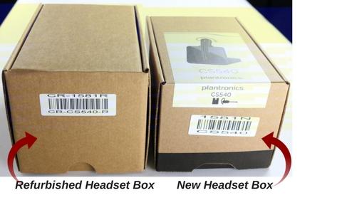 Plantronics CS540 box and Plantronics CS540 refurbished headset box.