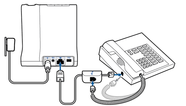 line drawing of a plantronics Wo2 base, connector cables connected to desk phone