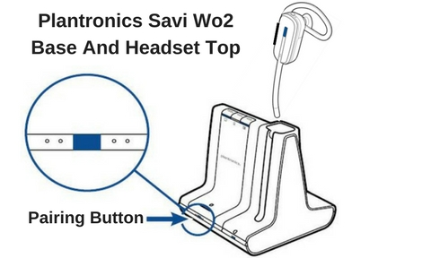 line drawing of plantronics savi headset base and headset top