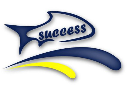 animation of a fish jumping out of water with the word success on the fish