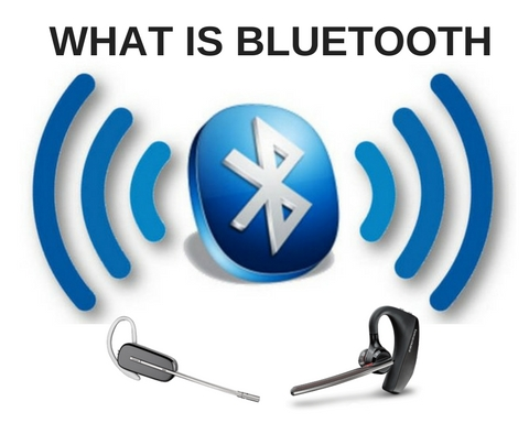 Bluetooth Logo and sound waves plus two Plantronics wireless headsets