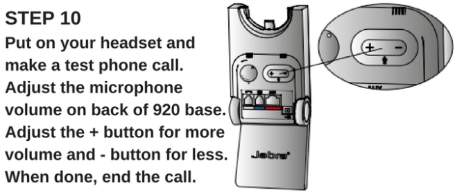 line drawing of jabra pro 920 base showing mic adjustment button